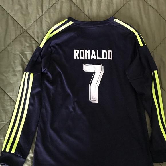 new style f056c 2ccda Boys Cristiano Ronaldo jersey. Navy/neon yellow.